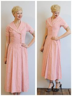 1950s Dress // Pink Daisy Dressing Gown // by dethrosevintage, $114.00