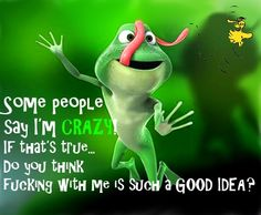 Some people think i'm crazy! Funny Animal Memes, Animal Quotes, Cute Funny Animals, Cute Quotes, Funny Quotes, Funny Memes, Jokes, Funny Cartoons, Funny Frogs