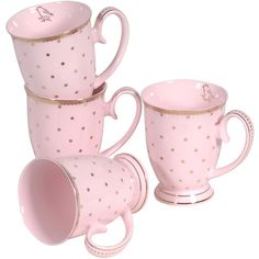 Gone Dotty Pink Mugs (125 BRL) ❤ liked on Polyvore featuring home, kitchen & dining, drinkware, fillers, decor, kitchen, props, dot mug, bird mug and polka dot mugs
