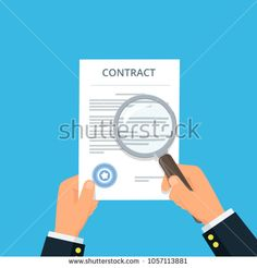 Contract inspection for fraud prevention. Close-up businessman hands holding contract and magnifying glass. Reading and analyzing document. Vector illustration in flat style.