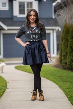 Outfit inspiration:  J Crew necklace, @Victoria Alexandra, Old Navy 'Heart and Soul' sweatshirt, leopard booties.