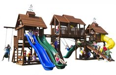 Adventure Mountain Big Swing Set with 4 Slides & Play Decks