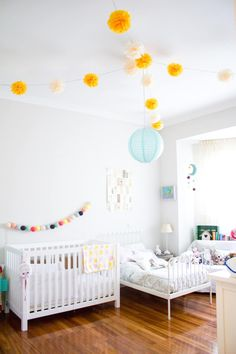 Martina and Lola's Sweet Shared Space — Nursery Tour Shared girls' room space. Diy Bett, Bright Rooms, Shared Bedrooms, Kid Bedrooms, Kid Spaces, Girls Bedroom, Lego Bedroom, Childs Bedroom, Bedroom Furniture