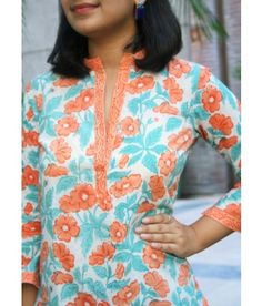 Chidiyaa provides authentic Indian handcrafted women's clothing in traditional block prints and weaves. Printed Cotton, Contemporary Design, Indian, Clothes For Women, Kurtis, Blouse, Floral, Prints, Beautiful