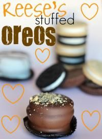 Chocolate Covered Reeses Stuffed Oreos will be your new favorite cookie!!