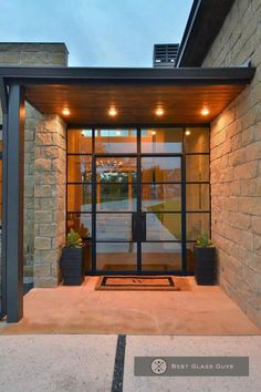 62 Ideas Door Design Modern Entrance Architecture For 2019 Front Door Entrance, Exterior Front Doors, Glass Front Door, House Entrance, Patio Doors, Sliding Glass Door, Front Entrances, Wall Exterior, Front Entry