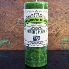 Want to fill your purse or wallet? Our Witch's Purse Witch's Brew Spell Candle from Coventry Creations might just help you get there. These hand-poured all-natural wax candles are green to correspond