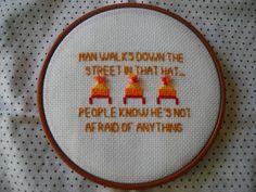 Man walks down the street in that hat... cross stitch #Firefly