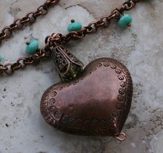 Copper Heart Turquoise Necklace #jewelry #necklace $47