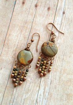 Very pretty....love the design Natural Stone Jewelry / Stone Earrings / Earthy Jewelry / Gypsy Earrings / Stone Dangle Earrings / Chandelier Earrings.  via Etsy.