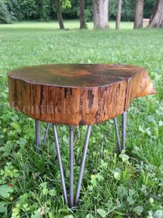 Wooden Plant Stand Side Table Stool Organic by KentuckyLiveEdge