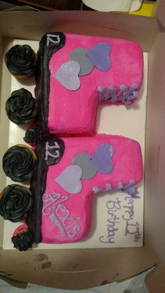Pink, grey, black and purple roller skate cake with hearts Roller Skate Cake, Pink Grey, Purple, Frozen Party, Girl Cakes, Skating, Cake Ideas, Cupcake, Cookie