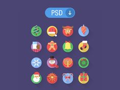 16 Flat Colorful Christmas Icons PSD