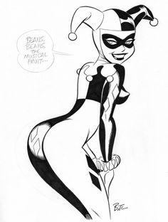 a harley quinn Bruce Timm. Bruce Timm, Harley Quinn Drawing, Joker And Harley Quinn, Arte Dc Comics, Batman The Animated Series, Batman Art, Comics Girls, The Villain, Comic Books Art