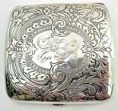 Rare Vintage Sterling Silver Cigarette Case