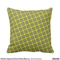 Modern Square Pattern Navy Blue and Yellow Pillow - home gifts ideas decor special unique custom individual customized individualized Yellow Throw Pillows, Decorative Throw Pillows, Pillow Design, Home Gifts, Pillow Patterns, Navy Blue, Modern, Design Art, Gift Ideas
