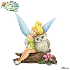 """Disney """"Owl Always Love You"""" Tinker Bell And Owl Figurine Owl Always Love You Figurine  Fully sculpted and hand-painted figurine of Tinker Bell with crystalline wings embracing her owl friend. Edition limited to 95 casting days.  Measures approximately 3-1/2"""" H  From The Hamilton Collection  Price:     $29.99"""