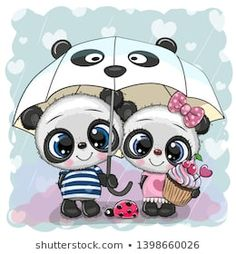 Two cartoon pandas with umbrella under the rain. Two cute cartoon pandas with umbrella under the rain royalty free illustration