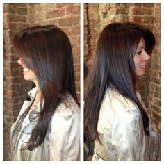 Pretty long brunette hair with soft balayage highlights