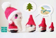 Amigurumi christmas gnomes with santa claus.