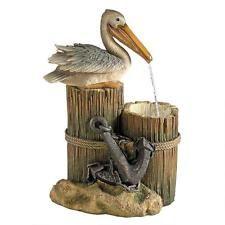Pelican Ocean Seaside Roped Pilings Perch Coast Bird LED Water Feature Fountain