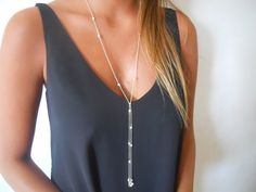 Sterling Silver and Pearl Lariat Necklace Long by annikabella