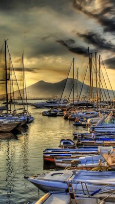 Naples, Campania, Italy with Mount Vesuvius in the background