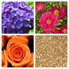 * Purple Hydrangea  * Pink Asters * Orange Roses * Glitter Accents * Glitter Tablecloth   #theskinnyvasellc #vendorsthatgiveback  #summerwedding #weddingflowers #miamiwedding