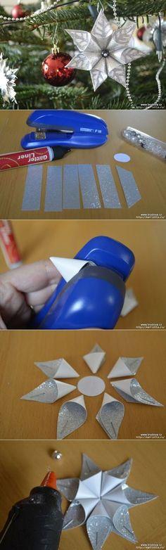 El maestro la clase: los asteriscos Navideños del papel. Las suspensiones para elochki.