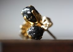 Rough Black Diamond Studs