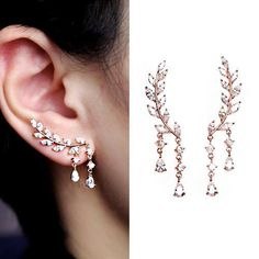 EAR VINES Silver Cubic Zirconia Crystal Ear Cuffs Climber Earrings SkmSkjR8BI
