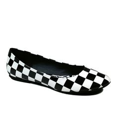 This Black & White Checkerboard Halo Ballet Flat by Dollhouse is perfect! #zulilyfinds