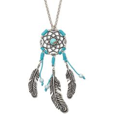 "Decree Silver-Tone Dreamcatcher 32"" Pendant Necklace ($11) ❤ liked on Polyvore featuring jewelry, necklaces, silvertone necklace, pendant jewelry, feather jewelry, silver tone necklace and feather pendant necklace"