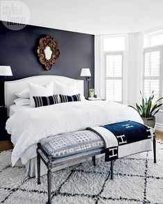"""2,870 Likes, 33 Comments - Style at Home (@styleathome) on Instagram: """"This master bedroom echoes the rest of the home's light-meets-dark and modern-meets-traditional…"""""""