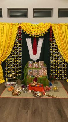 Diwali Decorations At Home, Home Wedding Decorations, Festival Decorations, Background Decoration, Backdrop Decorations, Flower Decorations, Backdrops, Ganpati Decoration Design, Ganesh Chaturthi Decoration