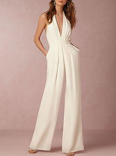 26a2350c9e9 Women s Wide Leg Backless Daily Sexy Halter Neck White Black Red Wide Leg  Jumpsuit