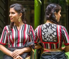 Looking for ikat blouse designs? Here are pretty latest models that can add a dose of style and elegance to all your saree look. Blouse Back Neck Designs, Cotton Saree Blouse Designs, Blouse Patterns, Black Saree Blouse, Kurta Neck Design, Simple Sarees, Blouse Models, Latest Designer Sarees, Beautiful Blouses