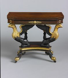 Attributed to Duncan Phyfe (American, born Scotland, 1770–1854). Card Table, 1815–25. The Metropolitan Museum of Art, New York. Partial and Promised Gift of James and Laura Freeman, 2004 (2004.538) #newyork #nyc