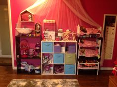 American Girl Doll storage-cheap book shelving from target.