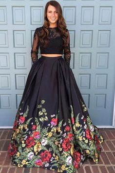 Two Piece Prom Dress Black Floral Long Evening Dress Long Sleeves Formal Dress Hot Cheap This dress could be custom made, there are no extra cost to do custom size and color. Floral Prom Dresses, Prom Dresses Two Piece, Black Prom Dresses, Cheap Prom Dresses, Sexy Dresses, Dress Black, Dress Red, Black One Piece Dress, Indian Prom Dresses