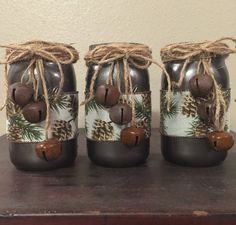 Rustic Christmas centerpieces Mason jar home decor Christmas mantle decor Woodland Christmas decorations Holiday jars
