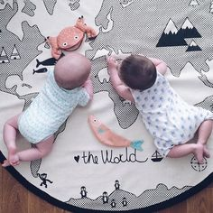 Wish | Fashion Kids Game Mats Baby Crawling Blanket Cotton Chilren Padded Play Mat Round World Adventures Carpet Room Decoration (Color: Beige)