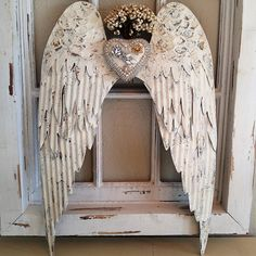 old WHITE rusty distressed Angel wings Wall hanging metal