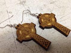 Celtic Cross Laser Engraved Dangle Earrings by lasercuttingboards