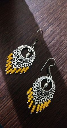 Gold And Silver Earrings Hoops Product Beaded Jewelry Designs, Jewelry Design Earrings, Beaded Earrings, Earrings Handmade, Crochet Earrings, Handmade Jewelry, Chandelier Earrings, Silver Earrings, Thread Jewellery