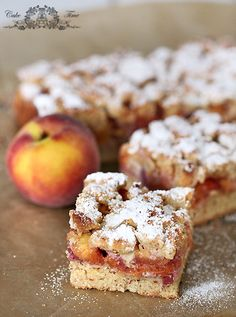 Aromatic almond cake with sweet and juicy peaches