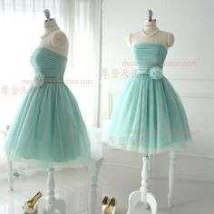 Bridesmaid dress short design sisters dress fresh mint green tube top bandage wedding dress one piece dress on Aliexpress.com