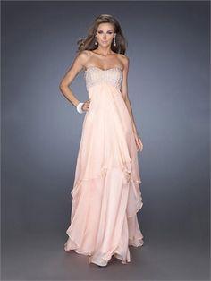 Pretty A-line Strapless Sweetheart Rhinestones Empire Chiffon Prom Dress PD2624