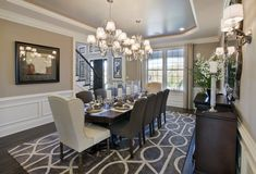 Enjoy an exquisite meal in this magnificent dining room from the Dutchess Farm Estates, Henley Farmhouse model home in Newtown, Pa.
