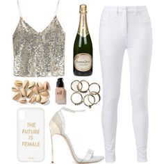 Champagne Campaign by sprinklesanddonuts on Polyvore featuring moda, Alice + Olivia, Casadei, Sonix, e.l.f., Perrier-Jouët, NewYears, contestentry, 2018 and polyPresents